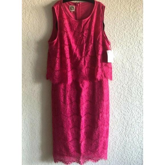 Anne Klein Pink Scallop Lace Sheath Dress Size 10